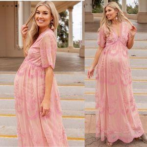Pinkblush Peach Lace Overlay Maternity Maxi Dress